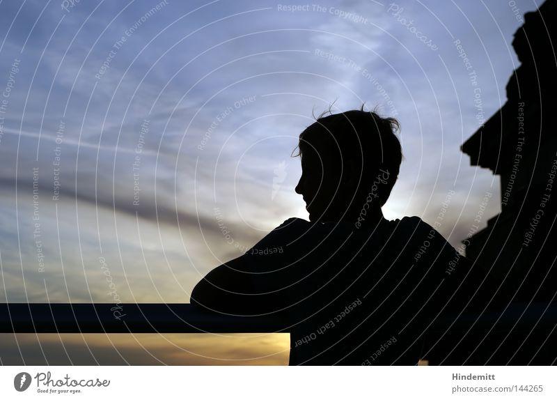 Profilneurose Bauwerk Kopf Haare & Frisuren Glas Dämmerung Abend Himmel Nase Schulter Wolken Sommer Sonne Sonnenuntergang Jugendliche Ferien & Urlaub & Reisen