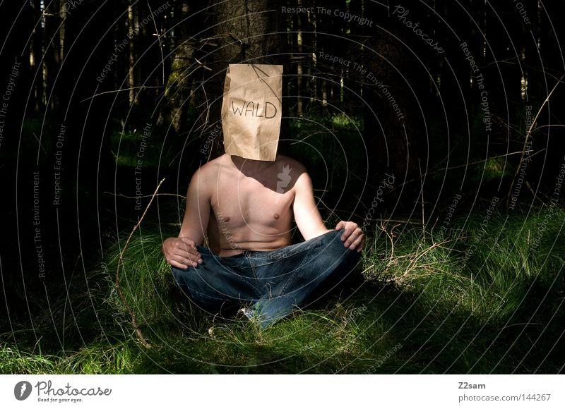 NATURVERBUNDENHEIT III Mensch Mann Natur grün Baum Einsamkeit ruhig Wald Erholung Landschaft Wiese Holz Gras Luft Körper sitzen