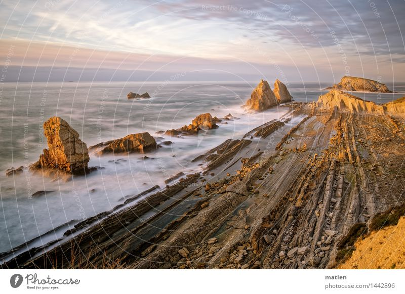 laminate Natur Landschaft Luft Wasser Himmel Wolken Horizont Sonnenaufgang Sonnenuntergang Wetter Schönes Wetter Gras Felsen Wellen Küste Bucht Fjord Riff Meer