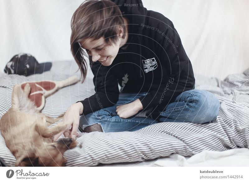 kein hund ist illegal Hund Erholung ruhig Wärme Spielen lachen Glück Zusammensein träumen liegen Zufriedenheit Häusliches Leben Fröhlichkeit Kommunizieren