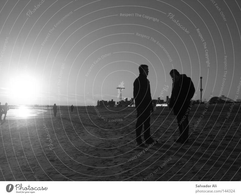 Kohnies Eiland II - Warten auf Bodoh New York City Promenade Sonnenuntergang Kontrast Abend kalt frisch Ferne Vergnügungspark Typ lungern Erholung Blick warten
