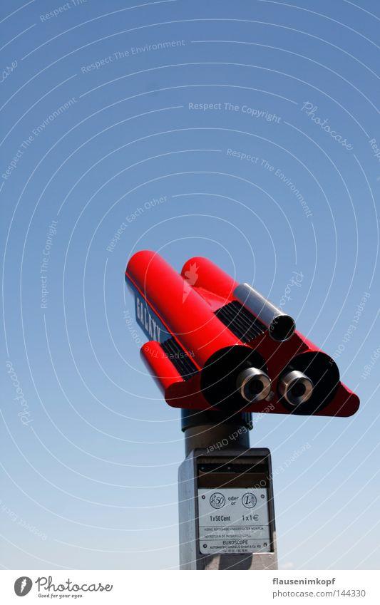 fernblick rot Ferne Erfolg Aussicht Schönes Wetter Fernweh Blauer Himmel Teleskop