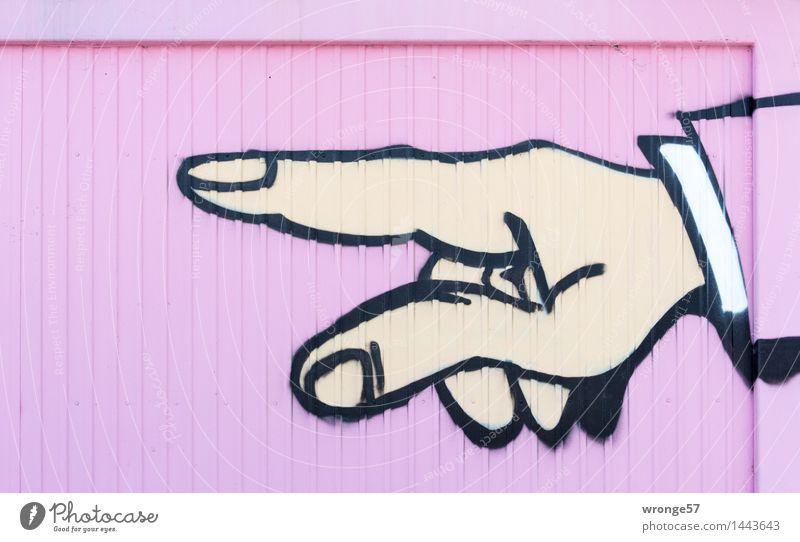 Fingerzeig Graffiti mehrfarbig rosa schwarz Grafische Darstellung Hand Zeigefinger Container richtungweisend Richtung Farbfoto Außenaufnahme Nahaufnahme