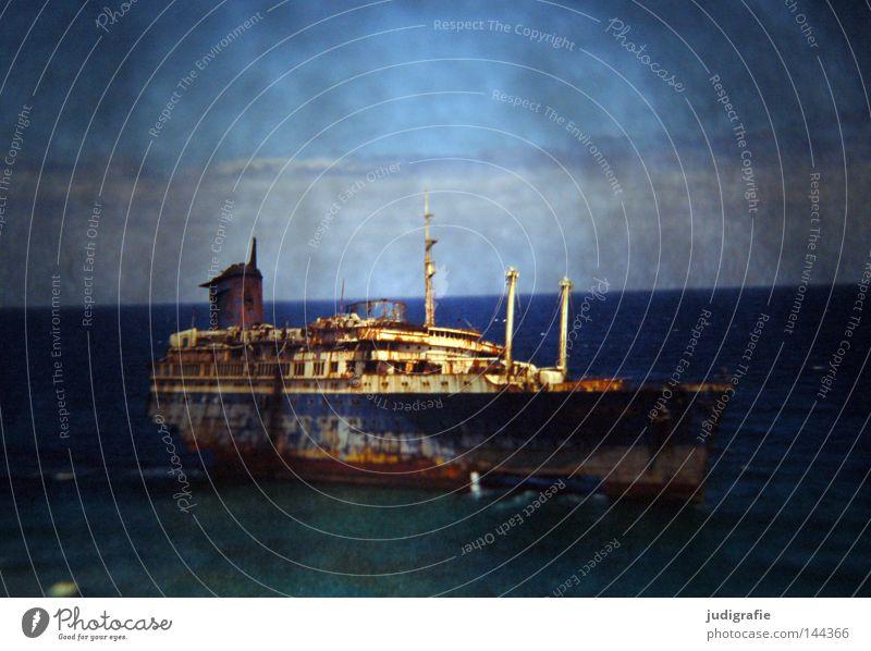 Rücksicht/Durchsicht Himmel Strand Farbe Sand Wasserfahrzeug Wellen Küste Dia Gischt Fuerteventura Kanaren Schiffswrack American Star gestrandet