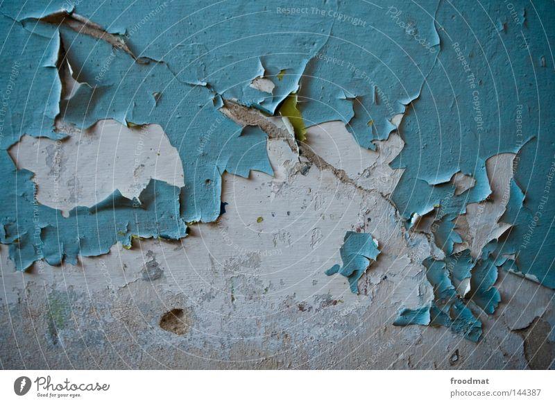 apblɛtərn zyan türkis blau Beton abblättern Verfall Wand Putz Farbe Farbstoff Mörtel Riss alt Falte Strukturen & Formen Hintergrundbild Tapete kaputt