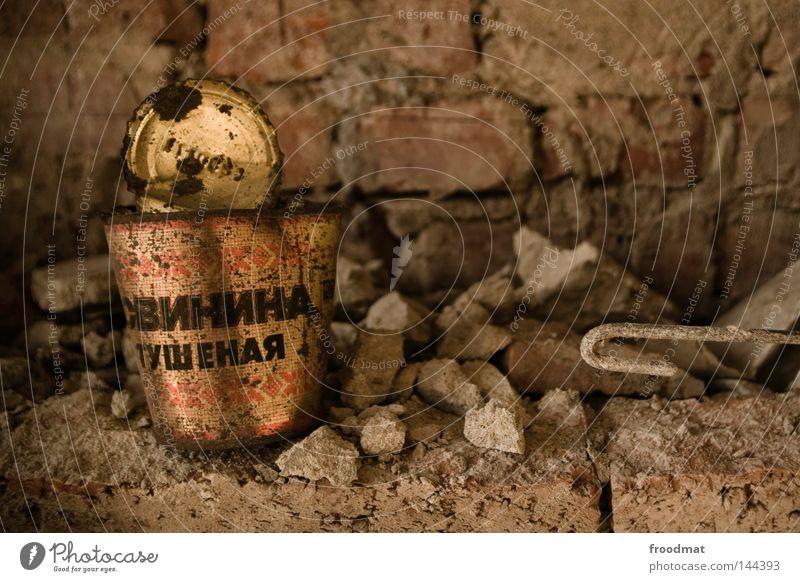 свинина alt Einsamkeit Ernährung Wand Stein Lebensmittel Metall Deutschland kaputt retro Metallwaren Vergänglichkeit Müll verfallen Dresden Backstein