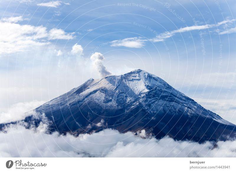 Popo Natur Landschaft Wolken Sommer Klima Schönes Wetter Berge u. Gebirge Schneebedeckte Gipfel Vulkan einzigartig blau weiß Fernweh Popocatepetl Mexiko