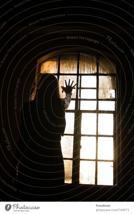 ich sehe was, was du nicht siehst Mensch Frau alt Hand Sonne Einsamkeit Haus dunkel Fenster Tod Wand Religion & Glaube springen Traurigkeit träumen Deutschland
