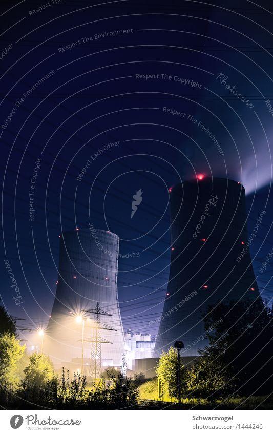 Heliopolis by night blau grün ruhig Architektur Umwelt Gebäude Zusammensein leuchten modern Energiewirtschaft Technik & Technologie hoch Industrie