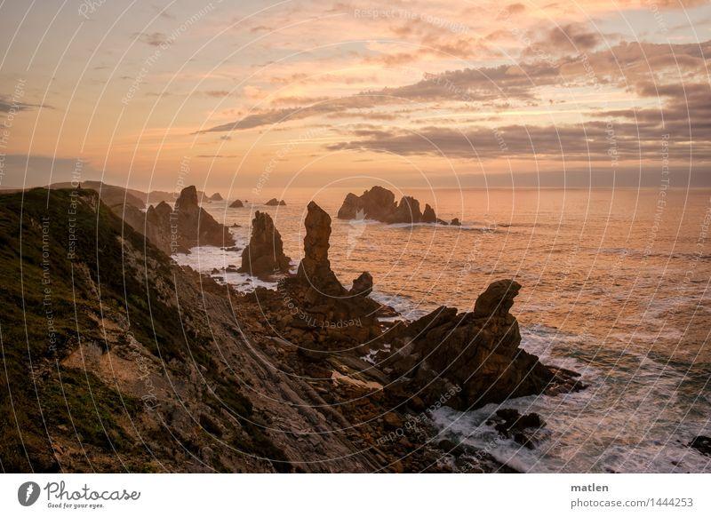 steile Küste Landschaft Wasser Himmel Wolken Horizont Sonnenaufgang Sonnenuntergang Wetter Schönes Wetter Felsen Wellen Strand Riff Meer gigantisch blau braun