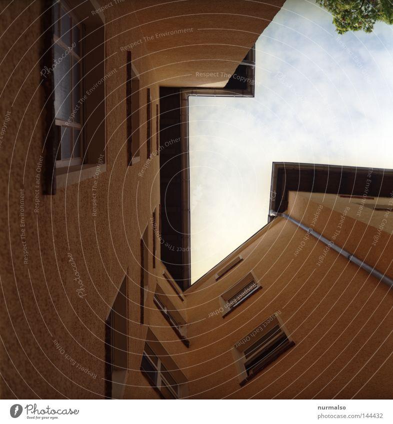 malneecke Himmel Baum Haus Berlin oben Fenster grau dreckig Architektur hoch Fassade Ecke trist Kabel Dach Häusliches Leben