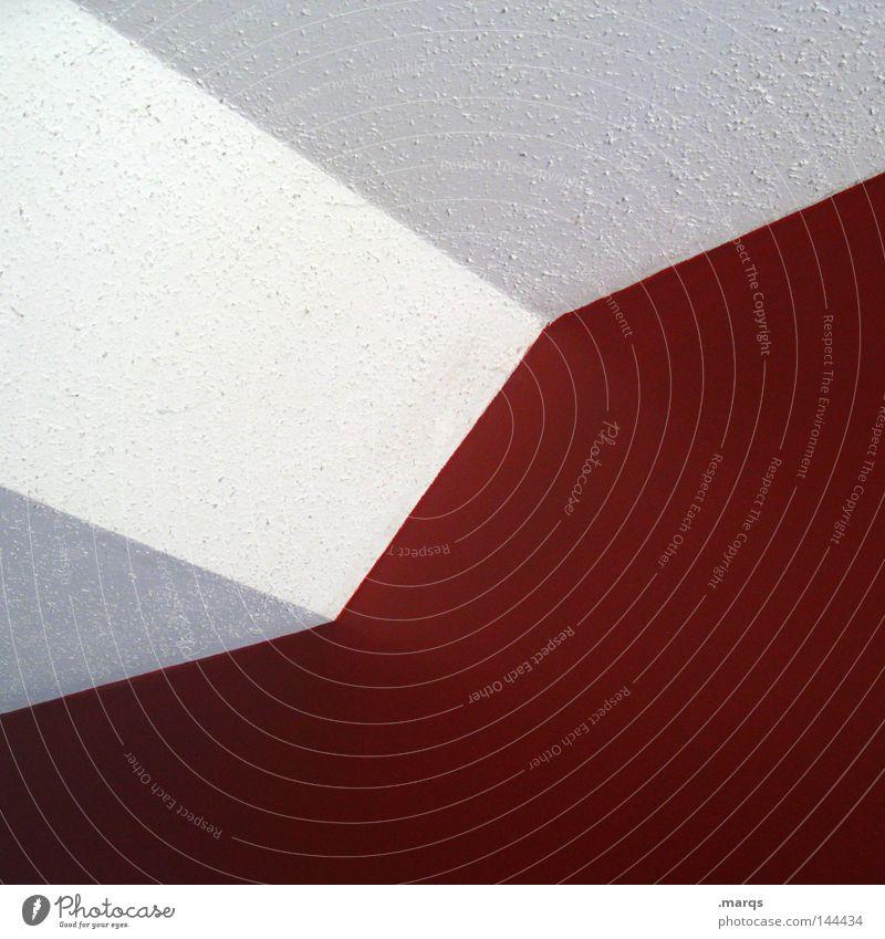 Minimalism weiß rot Wand Linie Architektur Ecke Geometrie Decke sehr wenige reduzieren Tapete Raufasertapete