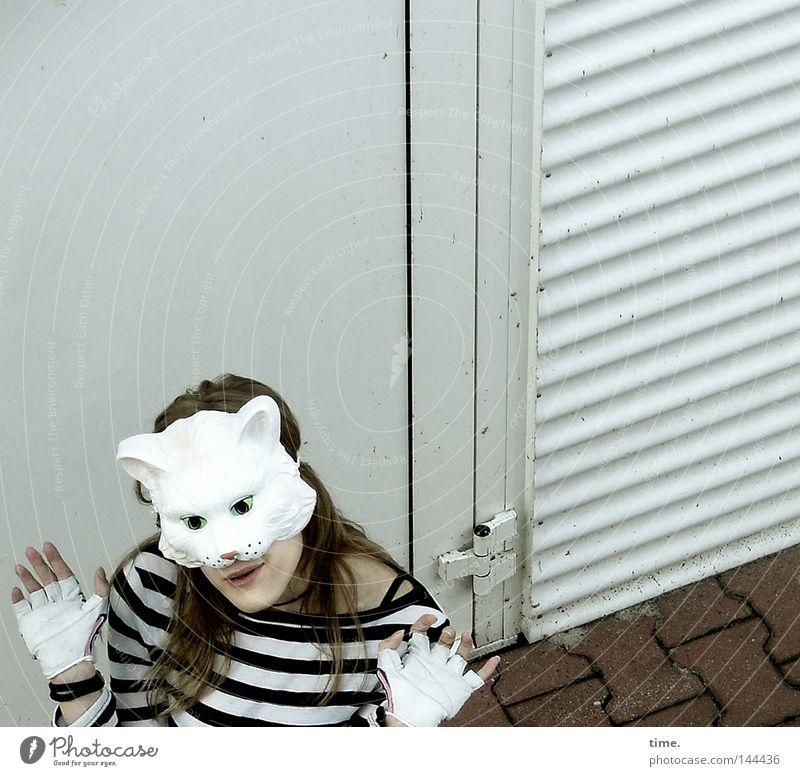 Sorry, Catfood Not Available [La Chamandu] Frau Katze Freude Erwachsene feminin grau lustig Tür Finger verrückt T-Shirt Körperhaltung Maske gestreift