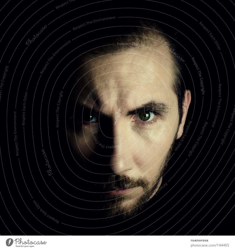 Mann Gesicht Auge gefährlich Sicherheit trist Macht Bart ernst Porträt Vollbart Gothic