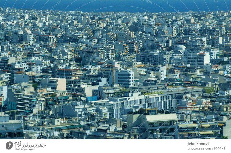 moloch blau Stadt Haus Hochhaus modern Skyline Verkehrswege Griechenland Athen