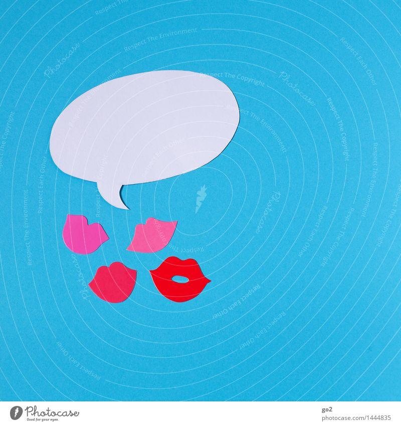 Blablablabla blau weiß sprechen Feste & Feiern Party rosa Geburtstag Kommunizieren Mund Lebensfreude Zeichen Lippen Karneval Nachtleben Flirten Sprechblase