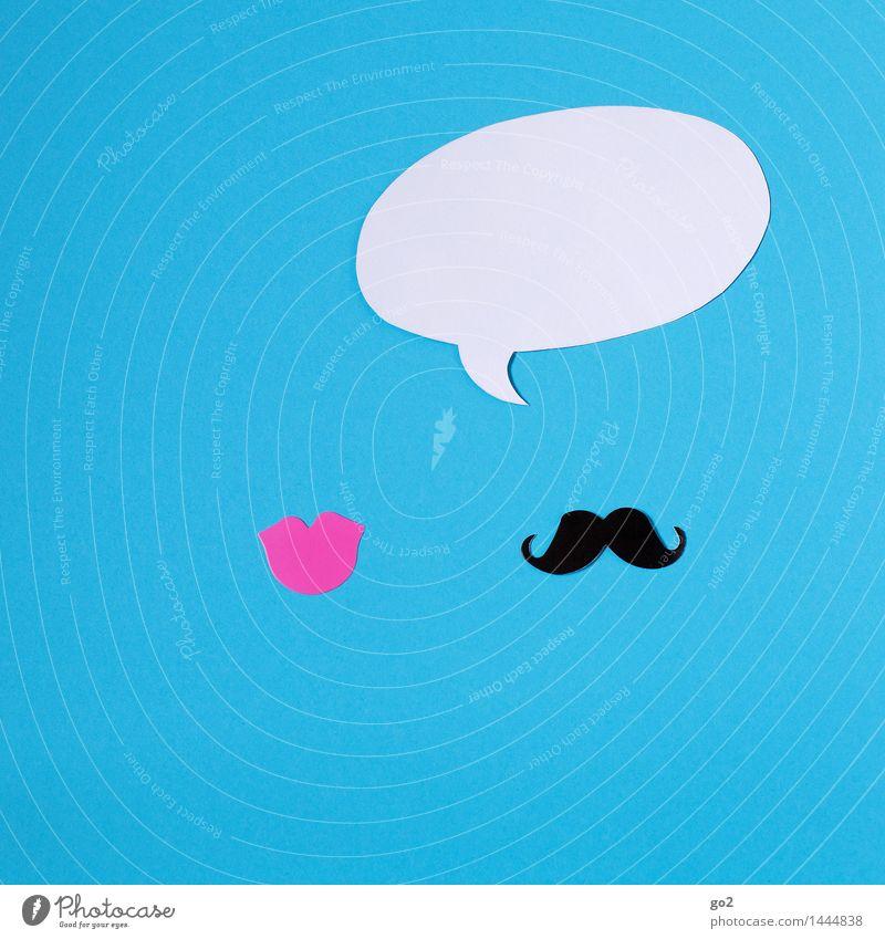 Er sagt Frau Erwachsene Mann Mund Lippen Oberlippenbart Sprechblase Zeichen sprechen Kommunizieren Telefongespräch ästhetisch einfach blau rosa schwarz weiß