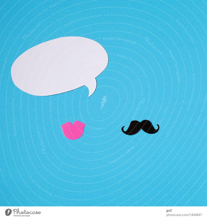 Sie sagt maskulin feminin Mund Lippen Oberlippenbart Sprechblase Zeichen sprechen Kommunizieren Telefongespräch blau rosa schwarz weiß Partnerschaft