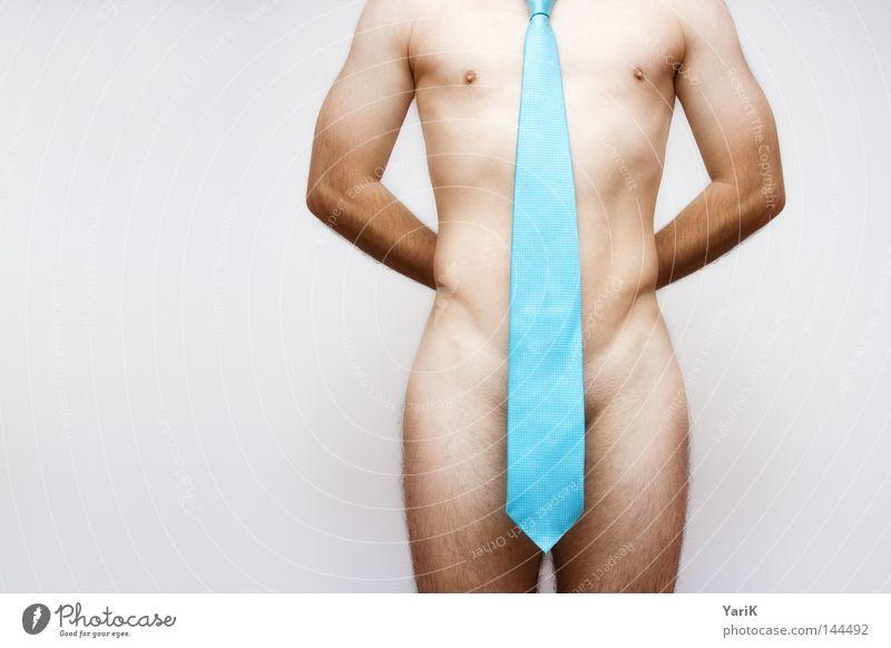 overdressed Mann blau weiß nackt grau Akt Beine Linie Körper Arme Haut Mode Bekleidung
