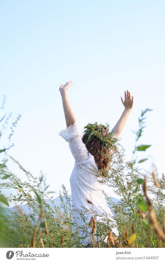Wiesenkönigin letzteres Lifestyle Freude Glück feminin Mädchen Junge Frau Jugendliche Natur Wolkenloser Himmel Sommer Gras Sträucher Bewegung Tanzen frisch