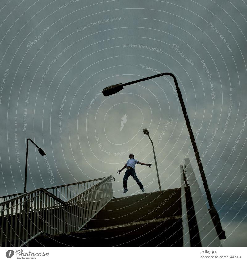 marionettentheater Mensch Mann Freude Leben Beleuchtung Lifestyle fliegen oben springen Treppe Erfolg Technik & Technologie Elektrizität Brücke Güterverkehr & Logistik Niveau