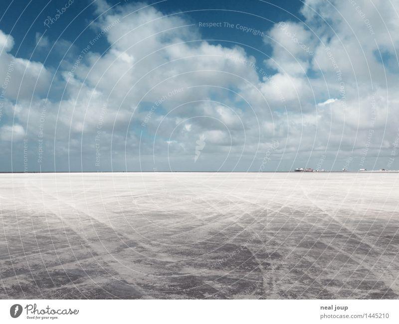 Santa Pedro II Freiheit Strand Landschaft Himmel Wolken Horizont Schönes Wetter Nordsee Sand Erholung Blick Ferne blau grau Fernweh ästhetisch Einsamkeit rein