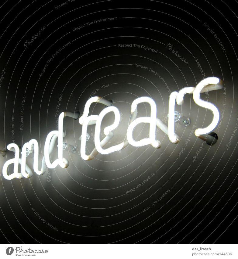 hopes ... schwarz Licht weiß Leuchtreklame Angst Panik Buchstaben Schriftzeichen fear fears black Halogen Lampe white luminous advertising
