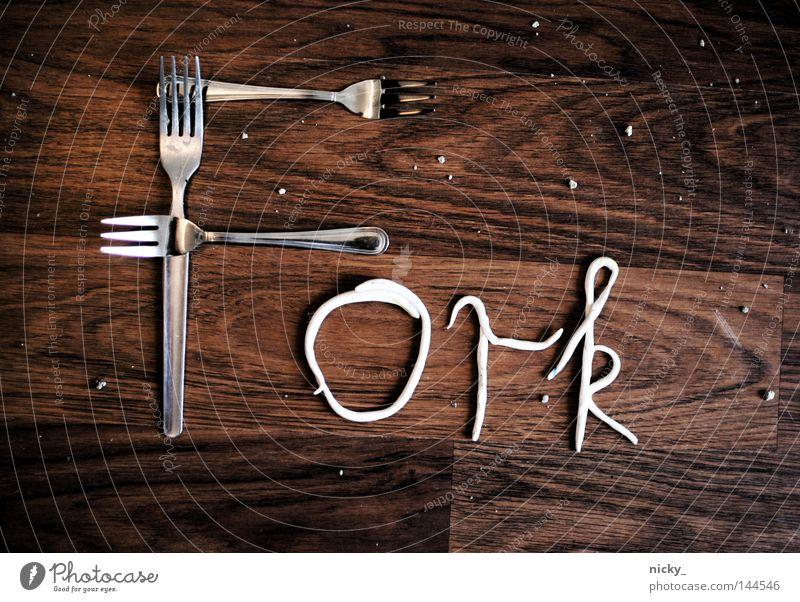 FORK Ernährung Holz Lebensmittel Küche Schriftzeichen Buchstaben Bild Handwerk Grafik u. Illustration Typographie Kies graphisch Besteck Gabel