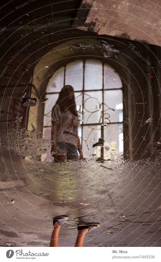 nichts halbes und nichts ganzes feminin Beine Fuß Industrieanlage Fabrik Ruine Fenster stehen Surrealismus Illusion Wasser Pfütze Wasserlache nass Steinboden