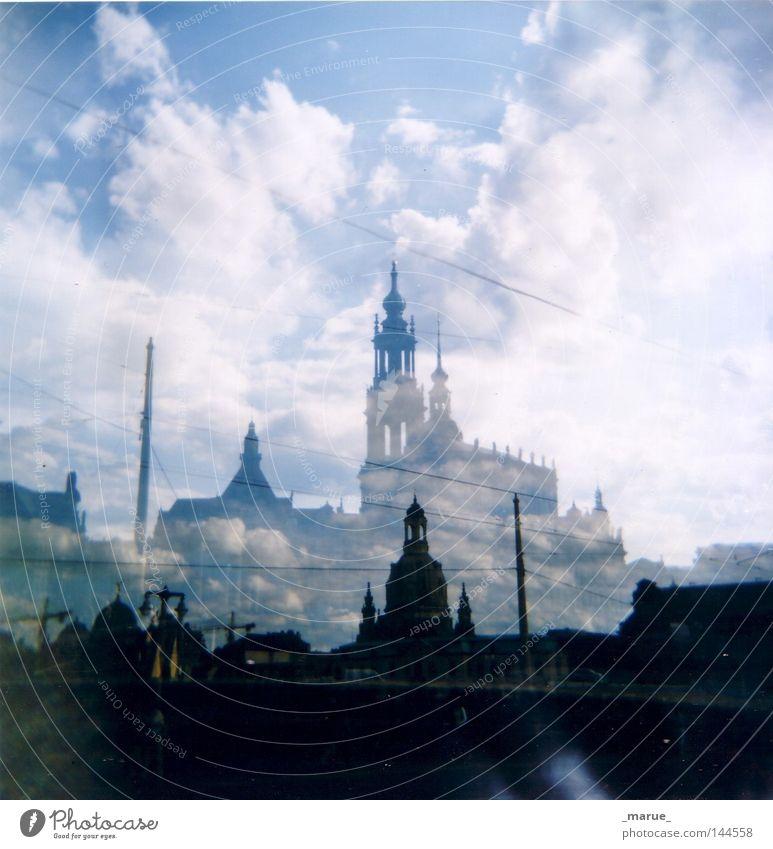 ghost town Dresden Altstadt Barock Altertum Schatten Geister u. Gespenster Relief Stadt Lomografie Wetter Wolken Himmel weiß blau dunkel Elbe Hauptstadt