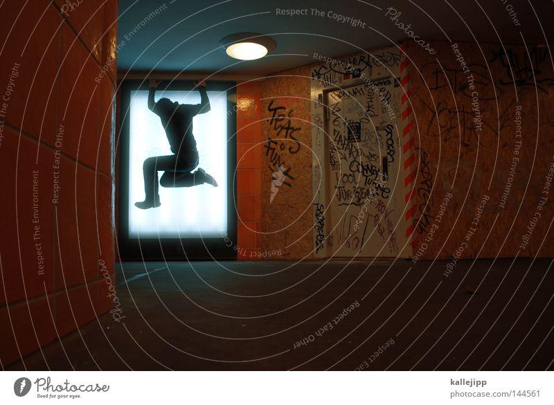 eigenwerbung Mensch Mann Freude springen Erfolg Lifestyle U-Bahn Tunnel Lebensfreude Sportveranstaltung Poster Plakat Konkurrenz Unterführung