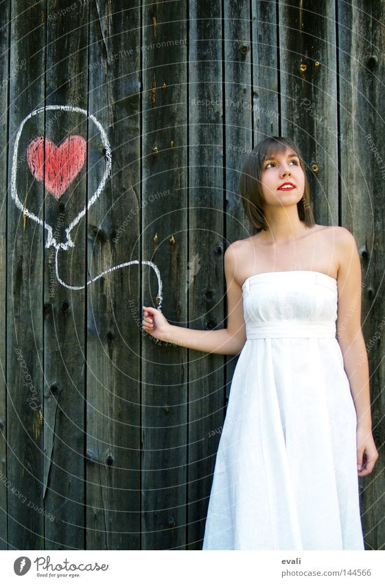 Loved Sommer Hochzeit Frau Erwachsene Bekleidung Kleid Luftballon Herz Liebe zeichnen rot weiß Sehnsucht gezeichnet white woman rote Lippen red loved heart