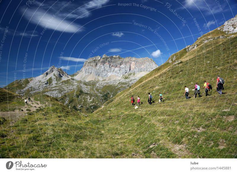 Wandertag 2 Ferien & Urlaub & Reisen Tourismus Ausflug Ferne Freiheit Berge u. Gebirge wandern Umwelt Natur Landschaft Sommer Schönes Wetter Hügel Felsen Alpen