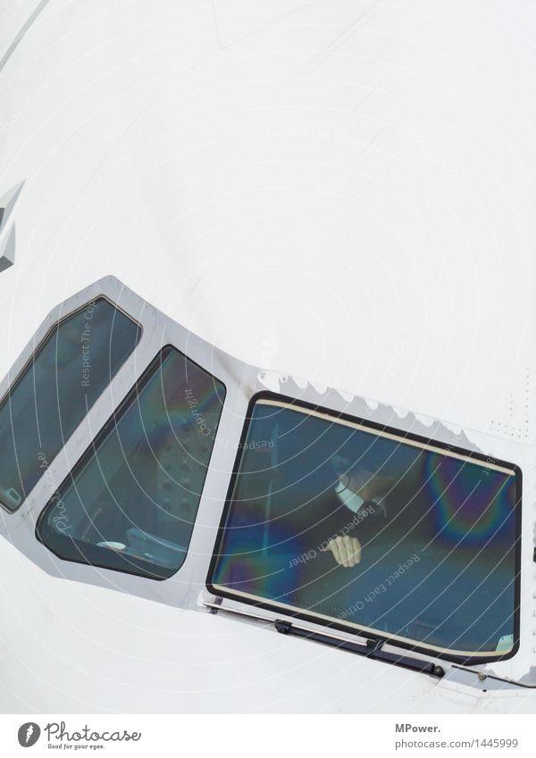 pilotenangstgriff Maschine High-Tech Luftverkehr Mensch maskulin 1 30-45 Jahre Erwachsene Verkehr Verkehrsmittel Personenverkehr Flugzeug Passagierflugzeug