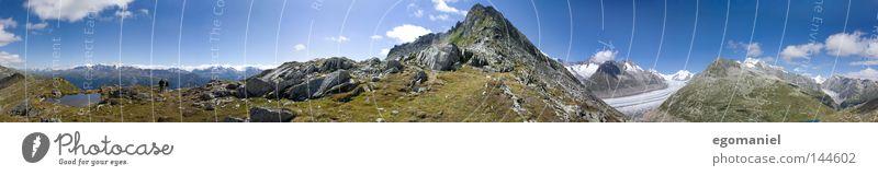 Bergpanorama Berge u. Gebirge Alpen Schweiz Gletscher Gipfel Freizeit & Hobby Aussicht Ferien & Urlaub & Reisen aufwärts oben Wolken Panorama (Aussicht) Aletsch