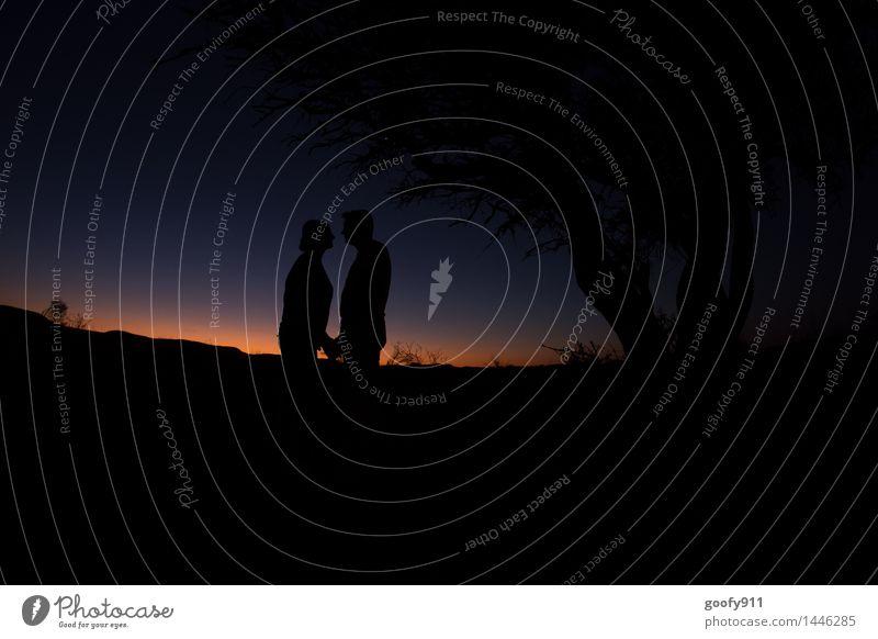 AMORE Natur Landschaft Himmel Nachthimmel Sonnenaufgang Sonnenuntergang Frühling Schönes Wetter Baum Wüste berühren genießen Küssen Ferien & Urlaub & Reisen