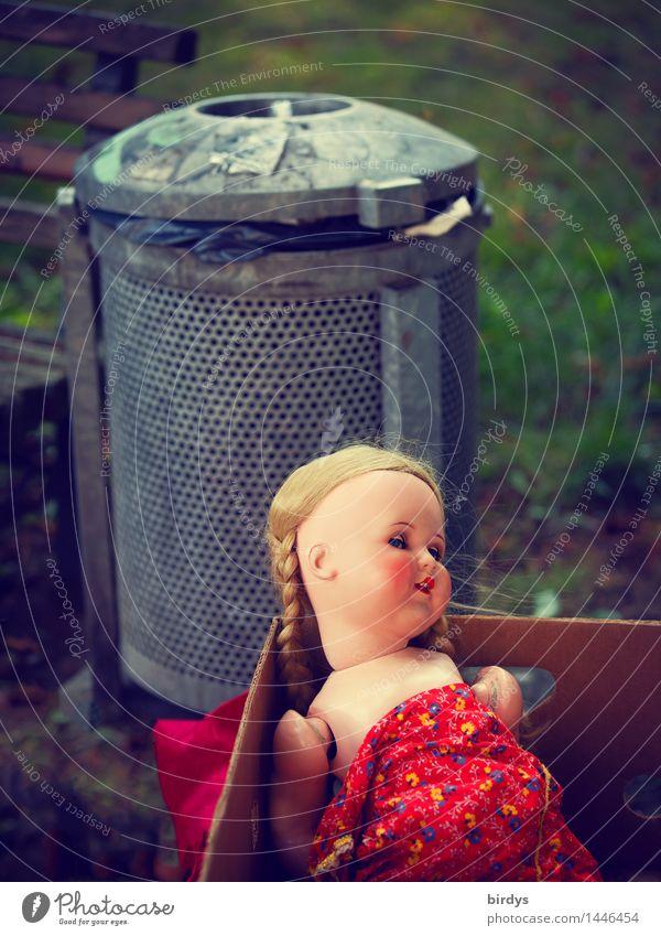 Schicksal Park Spielzeug Puppe Müllbehälter Papierkorb Karton Lächeln Blick Traurigkeit alt gruselig kaputt feminin Gefühle Tod Schmerz Enttäuschung Einsamkeit