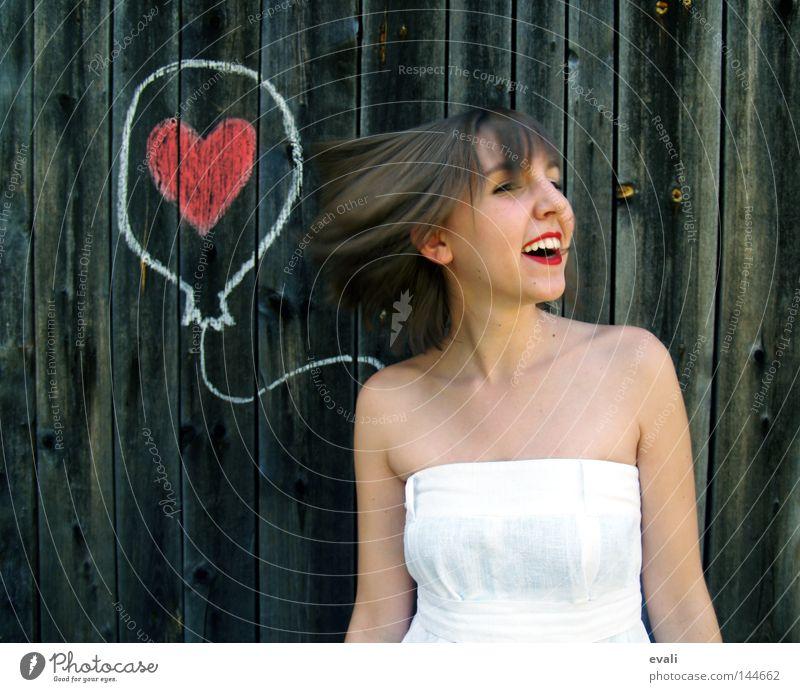 Loved Porträt Kleid weiß Frau rot Liebe Luftballon gezeichnet Bekleidung white woman rote Lippen red loved Herz heart balloon zeichnen Freude happy lachen
