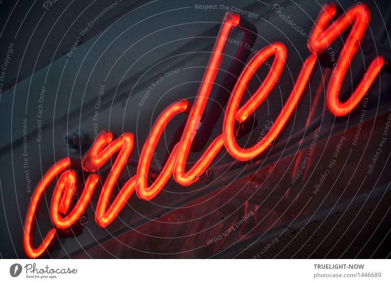 Order... vieldeutig Stadt rot Architektur Gebäude grau Denken Kunst Fassade Design Ordnung Dekoration & Verzierung elegant Glas Schilder & Markierungen Schriftzeichen ästhetisch