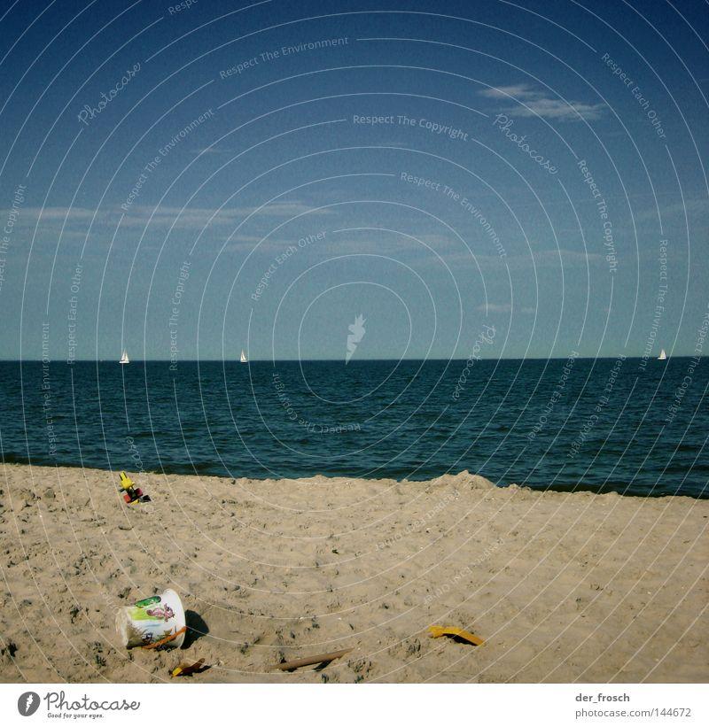 strandtag Meer Strand Wolken Eimer Schaufel Spielzeug Horizont Sommer Küste Nordsee Himmel blau Klarheit Sand Wasser Erholung sea