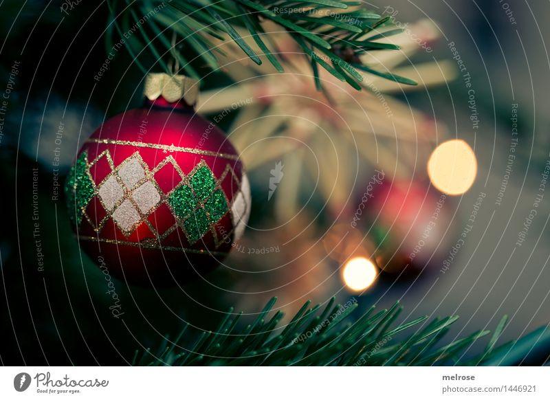 es weihnachtet Stil Design Weihnachten & Advent Tannenzweig Weihnachtsbaum Zweige u. Äste Christbaumschmuck Weihnachtsdekoration Unschärfe Lichtpunkt Strohstern