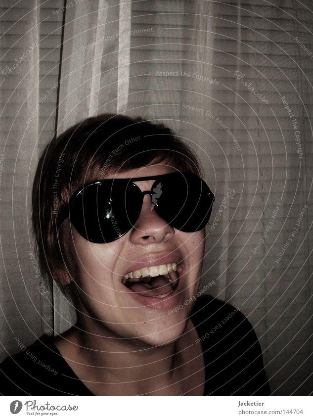 Wer zuletzt noch lacht... Frau Gefühle lachen Haare & Frisuren Zähne Vorhang Wange Hals Zunge Jalousie Kinn Fräulein