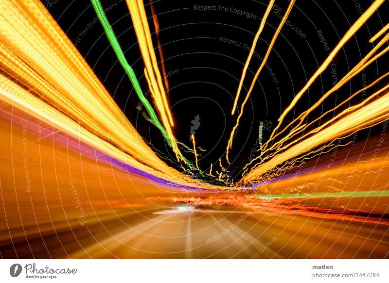 Ein schwungvolles 2016 Stadt Menschenleer Verkehr Verkehrswege Autofahren Straße Tunnel leuchten braun mehrfarbig gelb grün violett orange rosa rot Rausch flush