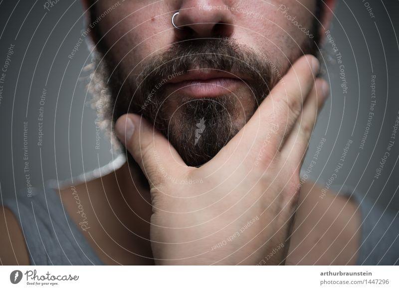 Mann streicht Bart Mensch Jugendliche schön Junger Mann Erwachsene Leben Lifestyle Haare & Frisuren maskulin Behaarung ästhetisch Coolness Sauberkeit streichen