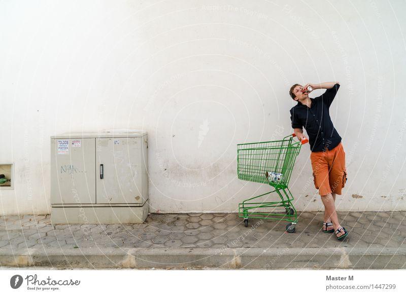 Mensch Ferien & Urlaub & Reisen Jugendliche Junger Mann Einsamkeit Freude 18-30 Jahre Erwachsene Wand Mauer maskulin Zufriedenheit stehen genießen Ausflug Armut
