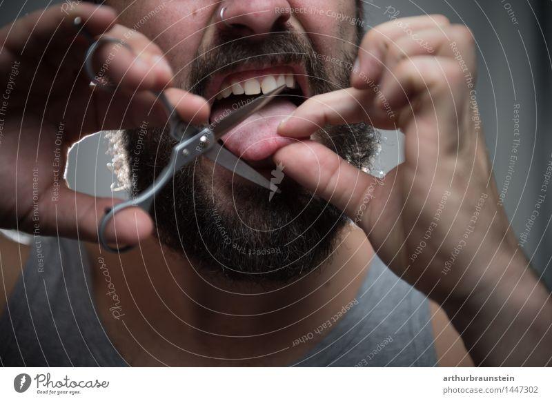 Schnipp schnapp Zunge ab Mensch Jugendliche Mann Junger Mann ruhig Erwachsene maskulin Behaarung Bart brünett Aggression Unterwäsche Vollbart Schere