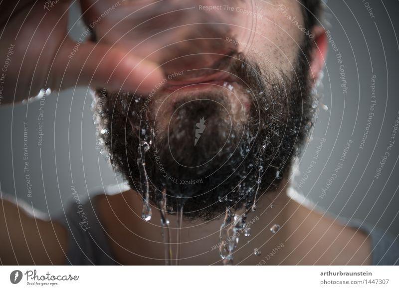 Durst stillen Mensch Jugendliche Mann Wasser Junger Mann Gesicht Erwachsene Haare & Frisuren maskulin Behaarung Trinkwasser Getränk trinken Tropfen rein Bart