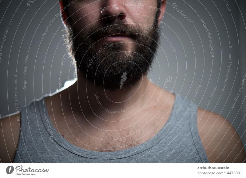 Mann mit Vollbart Mensch Jugendliche schön Junger Mann Gesicht Erwachsene Leben Haare & Frisuren maskulin Zufriedenheit Behaarung authentisch stehen einfach Körperpflege Bart