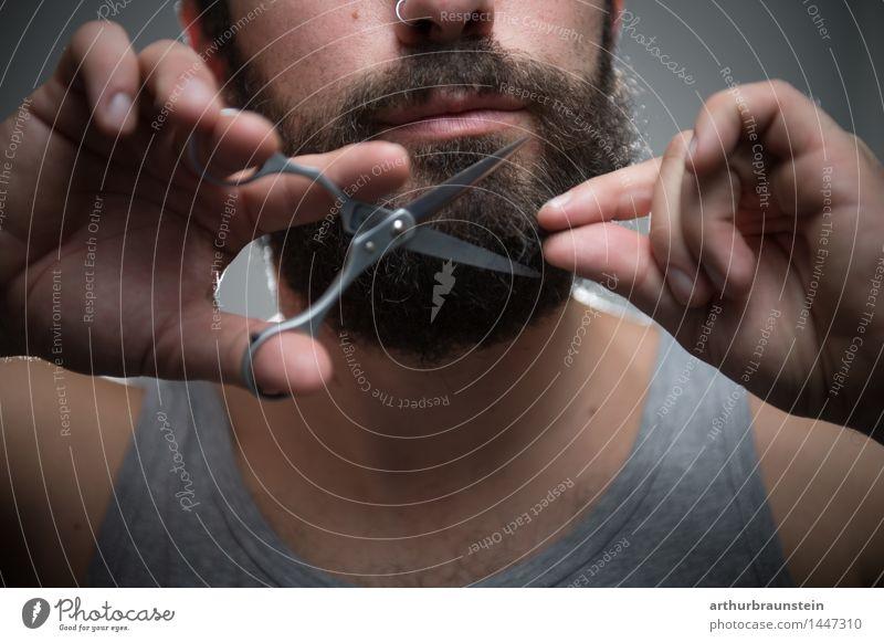 Bart abschneiden Mensch Jugendliche Mann alt schön Junger Mann Gesicht Erwachsene Haare & Frisuren maskulin Behaarung ästhetisch Reinigen Körperpflege Bart Schmuck