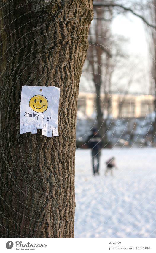 Take a smile 1 Baum Zettel Handzettel wählen Lächeln lachen laufen leuchten einfach Erfolg frei Fröhlichkeit Glück positiv gelb Gefühle Stimmung Freude